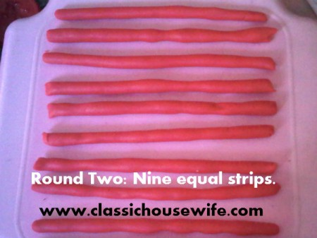Now making nine equal length playdough ropes