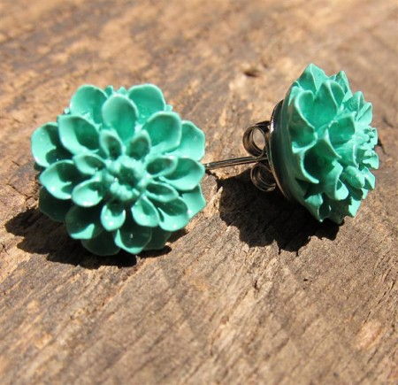 teal-flower-earrings