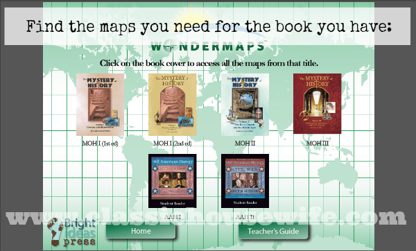WonderMaps for Mystery of History or All American History Bright Ideas Press