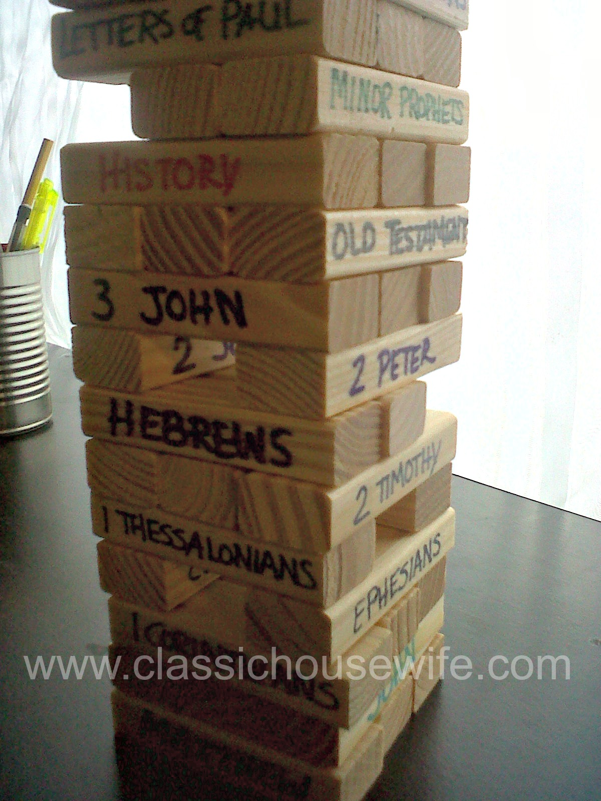 Books Of The Bible Jenga Game