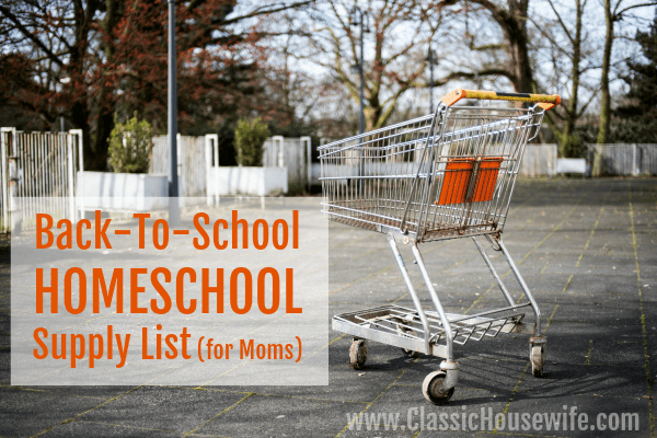 Back to HOMESCHOOL supply list