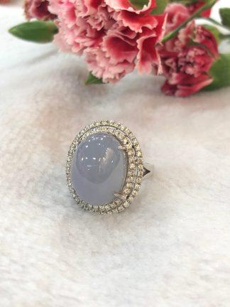 icy lavender jade cabochon ring