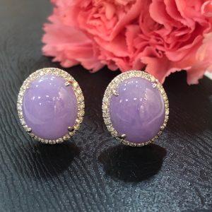lavender jade cabochons earrings