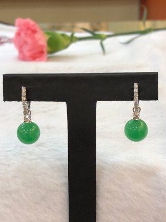 round imperial green jade earrings
