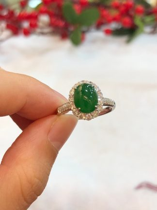 imperial green jade cabochon ring