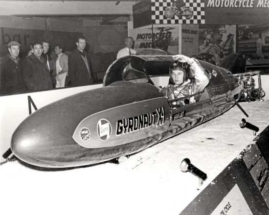 One of the undoubted stars of the show was American Bob Leppan, with his twin-Triumph- powered Gyronaut X-1, the fastest motorcycle in the world.