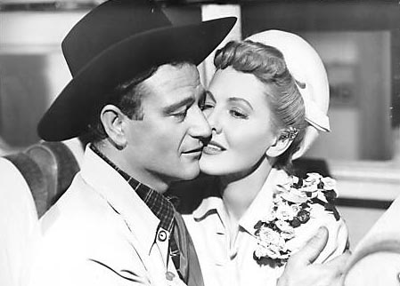 John Wayne and Jean Arthur in A Lady Takes a Chance, classic movies, William A. Seiter