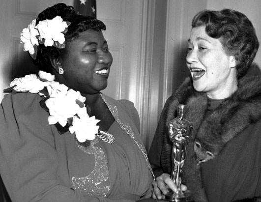Hattie McDaniel, first black person to win Oscar, Best Supporting Actress for Gone With The Wind, Fay Bainter