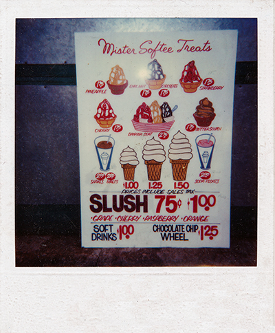 ice cream truck menu board
