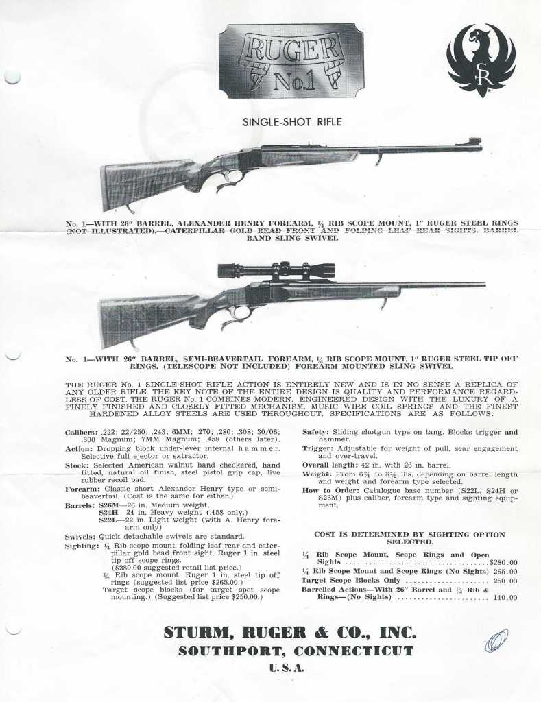 This is what I believe a requester got if they wrote to the Company for more information about the Ruger No.1 rifle