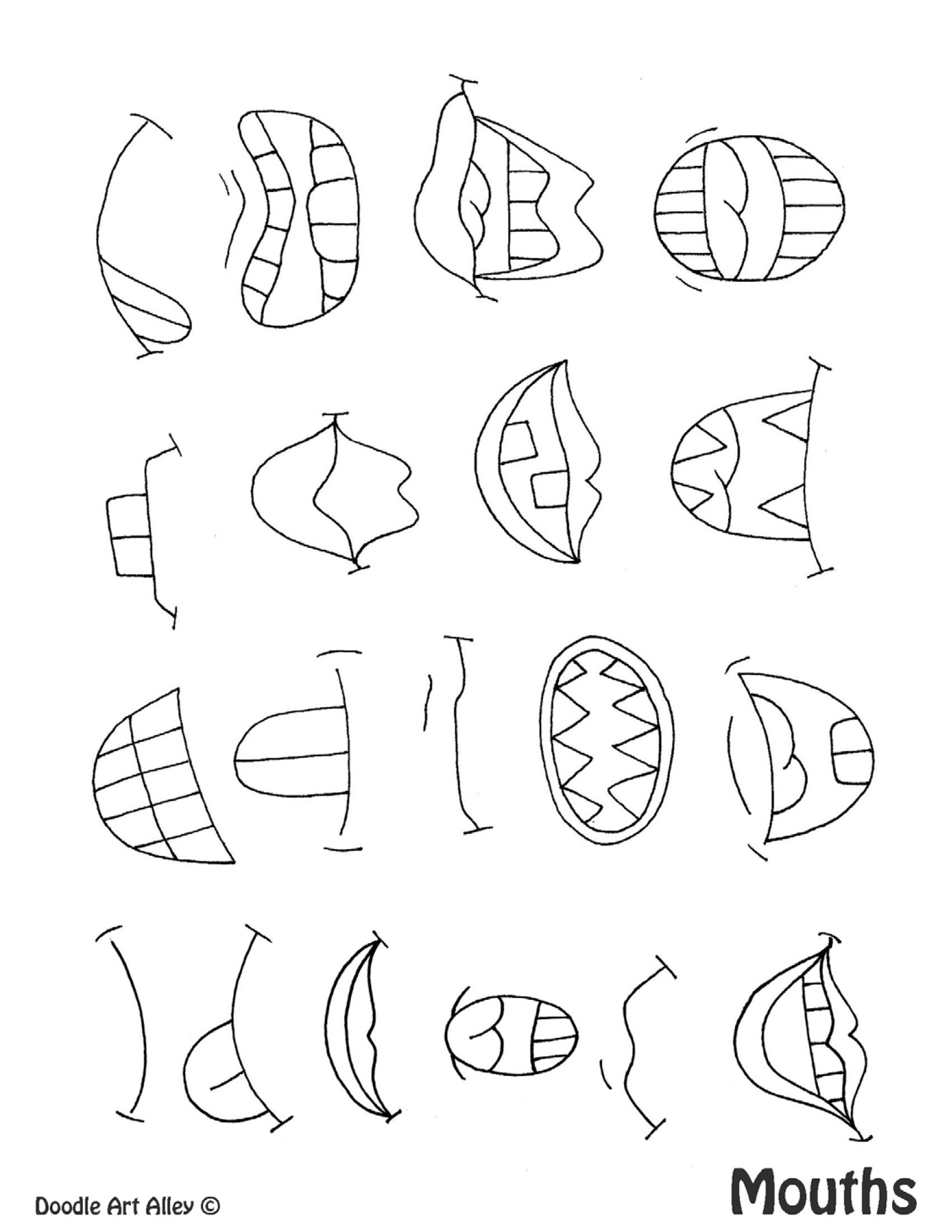 Drawing Mouths Worksheet