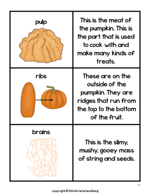 Pumpkin Parts PictureFact Cards and Labeling Activity