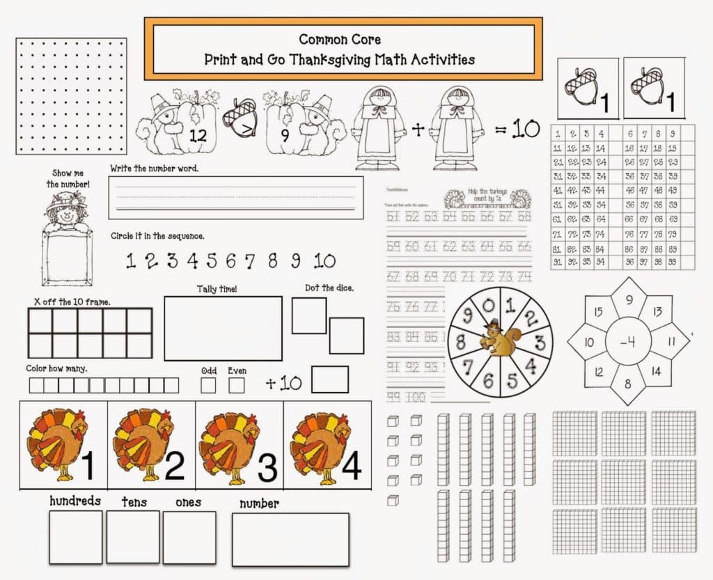 Common Core Thanksgiving Math Packet