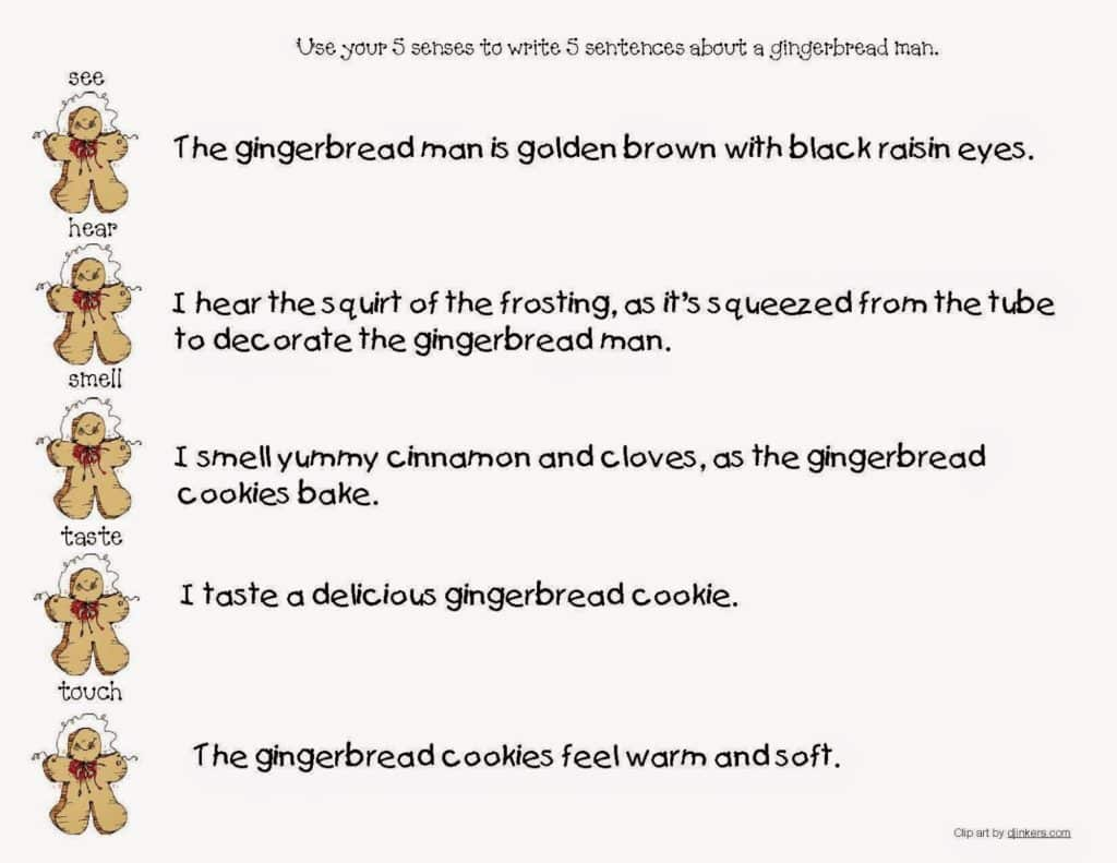 Gingerbread Descriptive Writing Worksheets