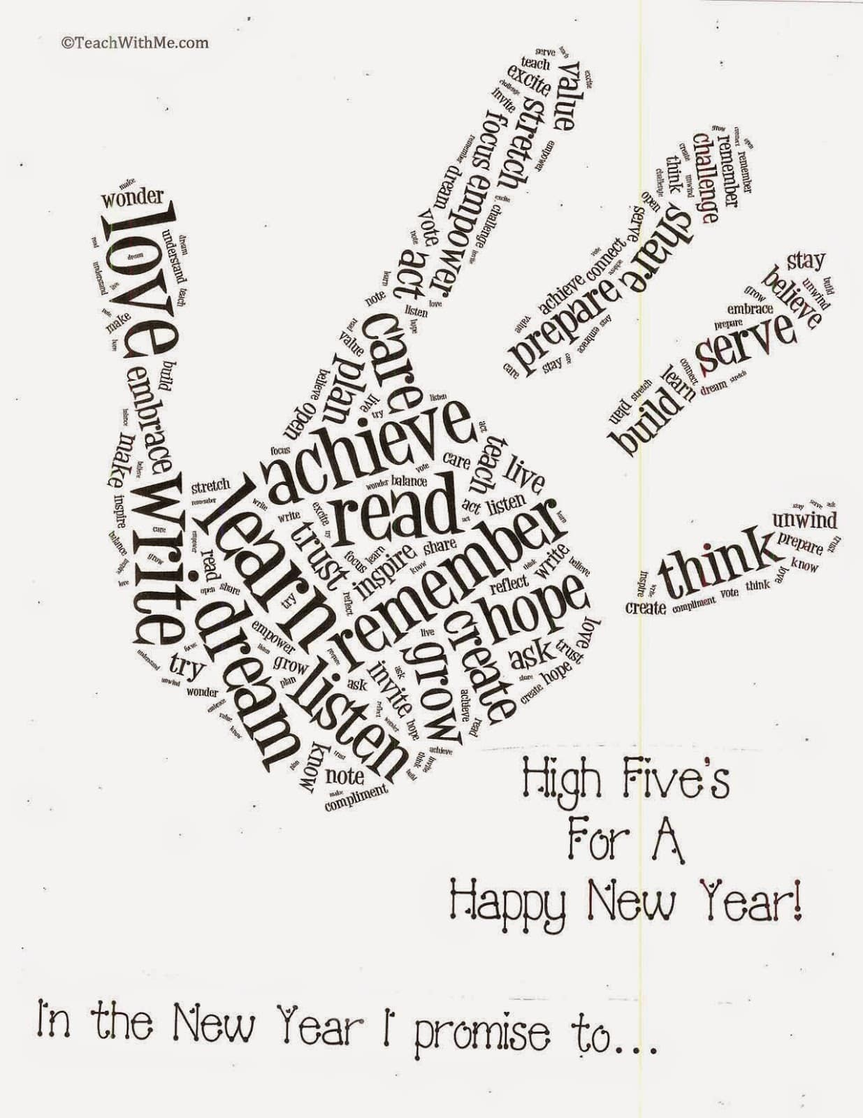 Happy New Year Word Art Craftivity
