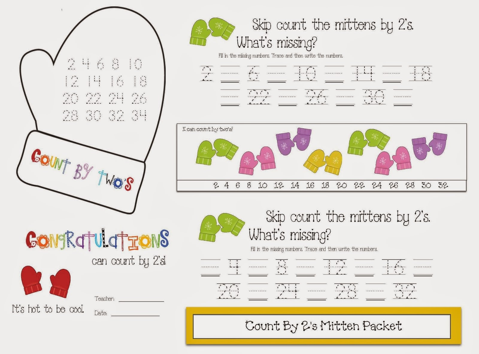 Skip Count By 2s Mitten Packet