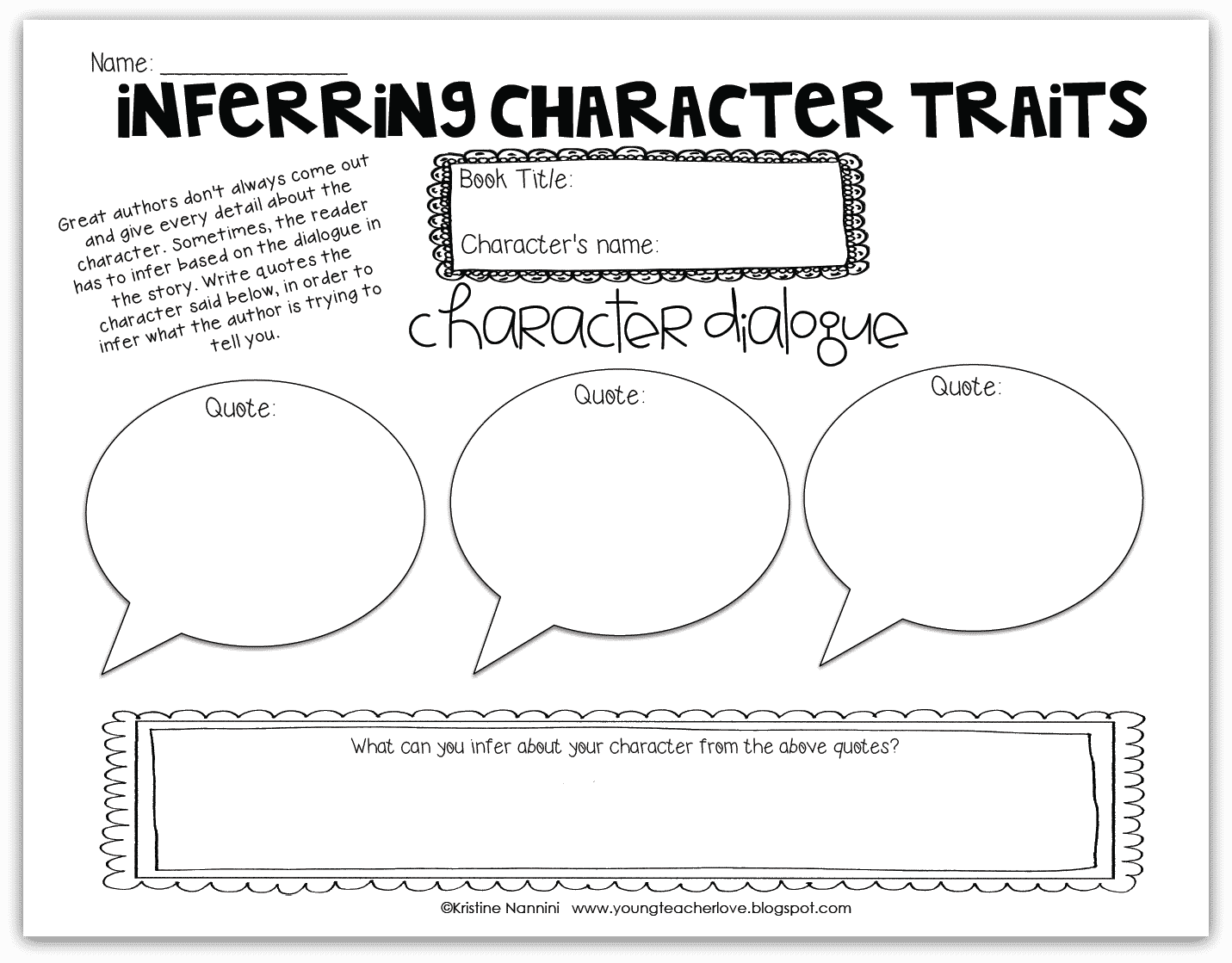 Inferring Character Traits Freebie