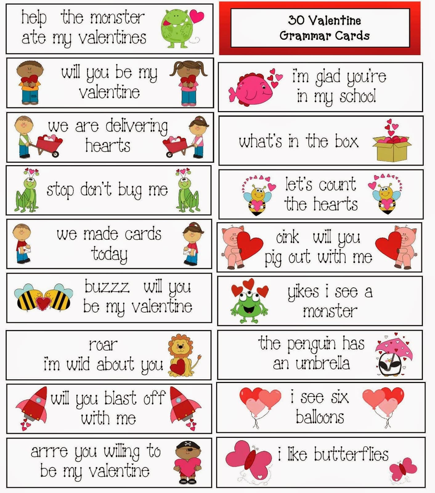 30 Valentine Themed Grammar Cards