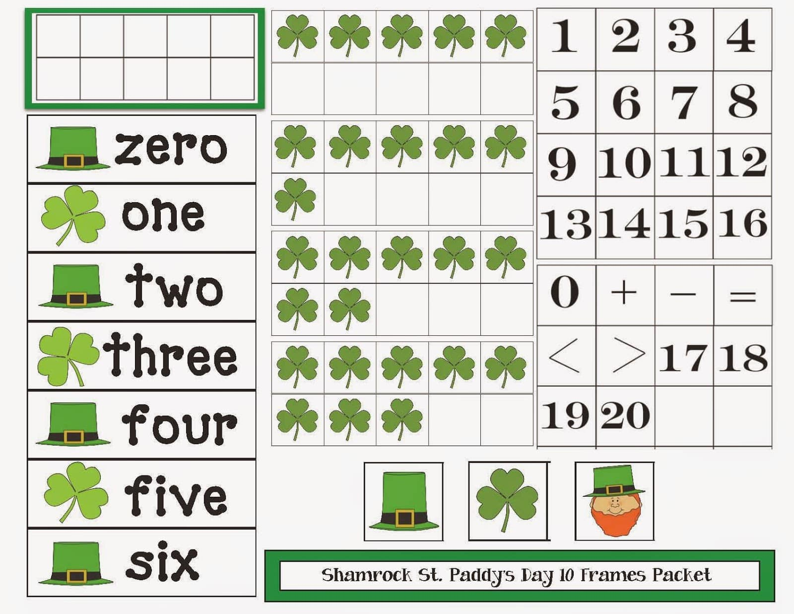 St Patrick S Day Themed 10 Frames Packet