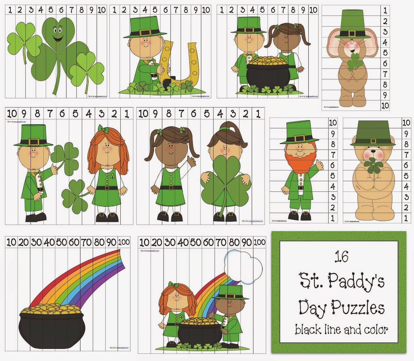 16 St Patrick S Day Number Puzzles