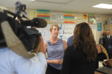 Lisa Hegdahl, CSTA President-Elect, being interviewed by Sacramento NBC (KCRA 3) news reporter in her classroom during the middle of class.