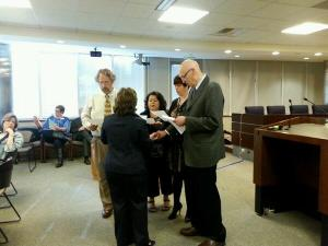 Robert Foster, chair of the Science Subject Matter Committee being sworn in as a member of the Instructional Quality Commission in March 2014.