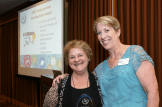 CSTA President Lisa Hegdahl presents the 2016 Distinguished Contributions Award to K-12 Alliance Statewide Director Kathy DiRanna.