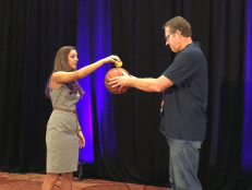 Closing Keynote Speaker Dianna Cowern demonstrates physics with Palm Springs USD science educator and NGSS blogger Peter A'Hearn.