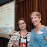 CSTA President Lisa Hegdahl presents the 2016 Distinguished Contributions Award to California Science Project Executive Director Maria Simani.