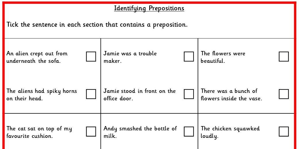 Identifying Prepositions Ks2 Spag Test Practice