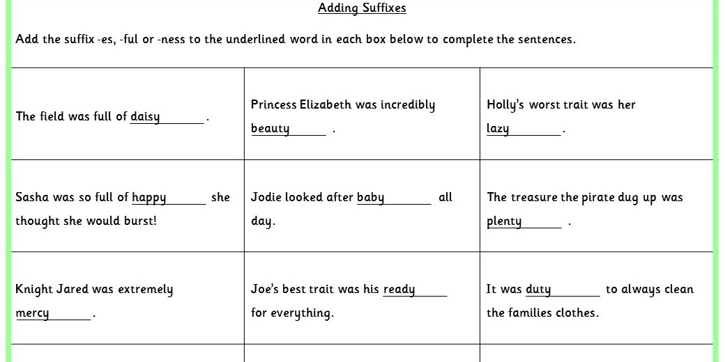 Adding Suffixes Ks1 Spag Test Practice