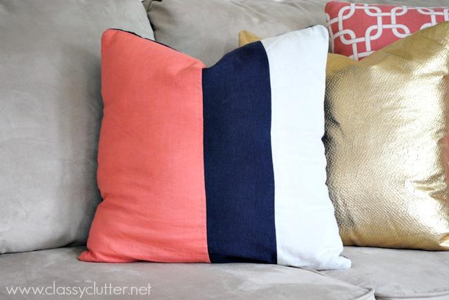 diy colorblock throw pillow tutorial
