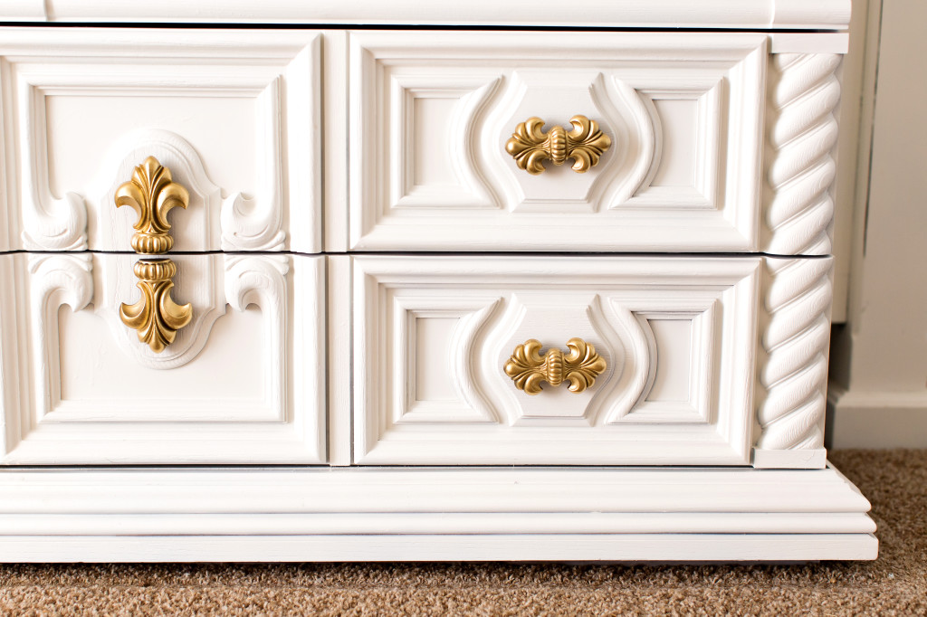 white and gold dresser master bedroom