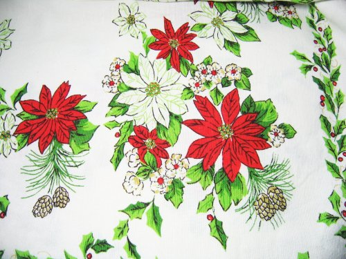 Christmas Tablecloth Poinsettia Holly Pine Cones At Classy