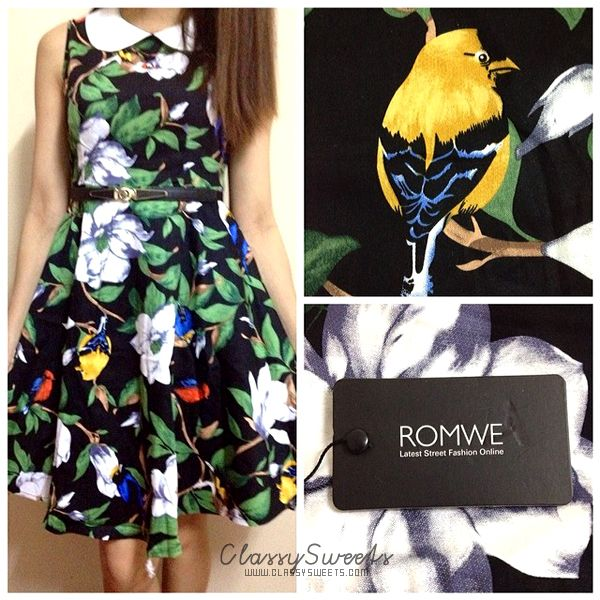 Romwe: Floral Print Doll Collar Sleeveless Pleated Dress