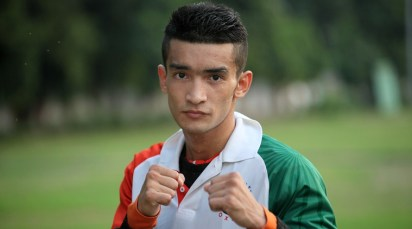 Boxer Shiva Thapa at a practice session, a day before leave for Almaty, Kazakhstan, on Friday for the World Boxing Championship, in New Delhi on Oct 10th 2013. Express photo by RAVI KANOJIA.