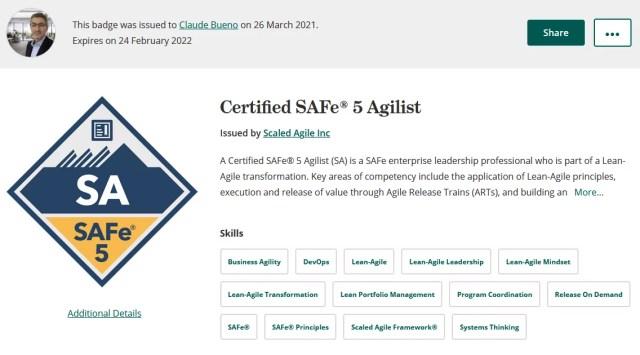 "Claude BUENO : Certification ""SAFe® 5 Agilist"" obtenue !"