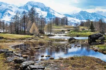 Les petites mares issues de la fonte, au fond, le Mont Pourri