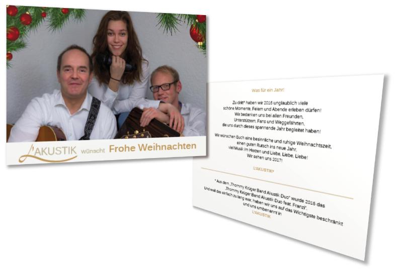Design von weihnachtlichen Flyern für die Band L'Akustik von Claudia Link Fotografie und Grafikdesign Nürnberg Erlangen Roth