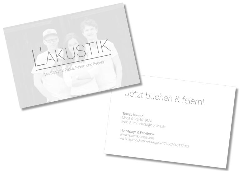 Visitenkarte für die Band L'Akustik von Claudia Link Fotografie und Grafikdesign Nürnberg Erlangen Roth