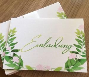 Fertige Einladungskarte zur Sommerparty in Aquarell Optik Vorderseite in geschwungener Schrift von Claudia Link Fotografie und Grafikdesign aus Nürnberg Erlangen Roth