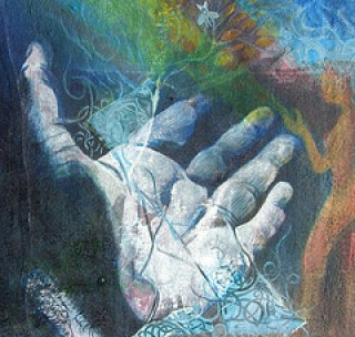 """Reaching out"" painting detail"