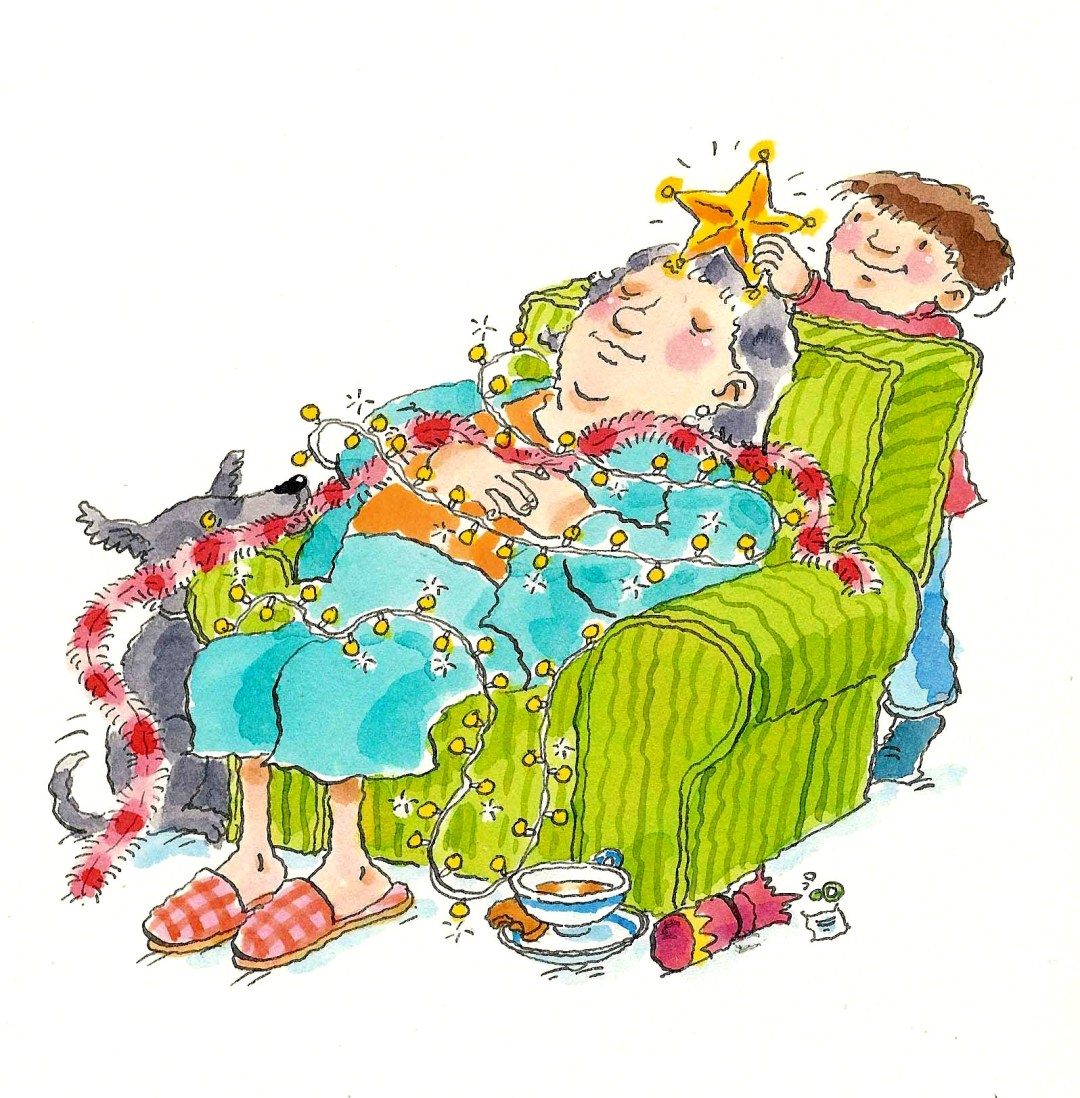 desenho de avó dormindo em uma poltrona e o neto está atrás. Ele enrolou a avó com pequenas luzinhas de natal e est;a colocando uma estrela na cabeça dela.