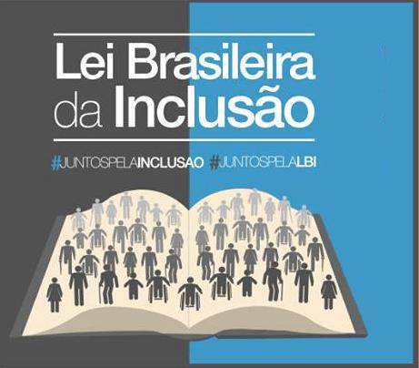 Logotipo da Lei Brasileira da Inclusão, na imagem com um fundo cinza escuro a esquerda e azul a direita sobre eles um livro aberto , com muitos símbolos de pessoas e no topo em letras grandes está escrito Lei Brasileira da Inclusão, na cor branca