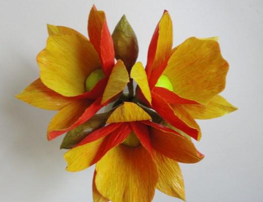Buquê de flores em papel crepom alaranjadas e amarelas em tom vivo. Em close no fundo branco!