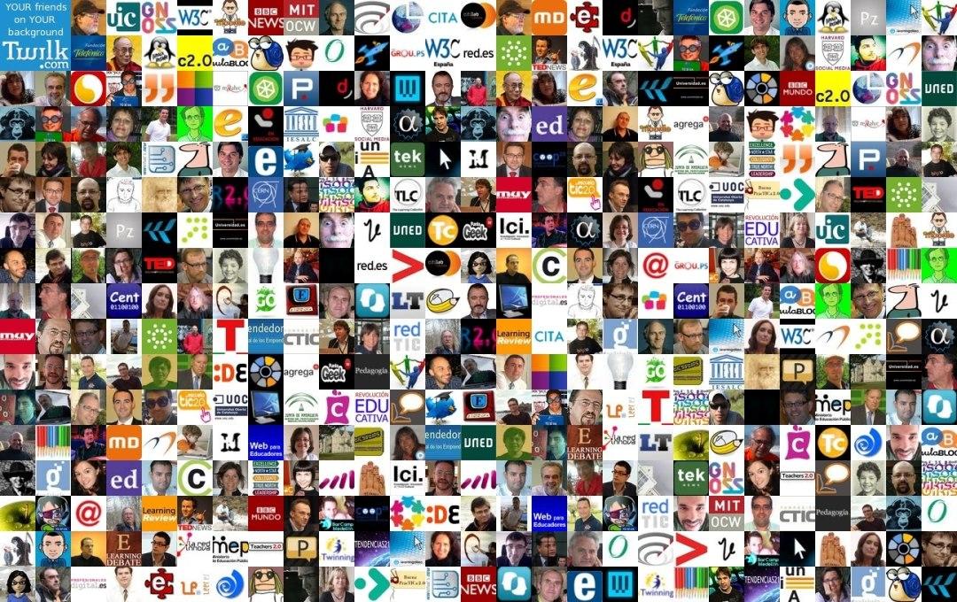 Montagem com milhares de fotos em miniatura de pessoas, logomarcas, ícones de internet.