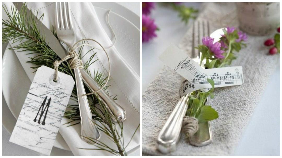 talheres sobre o prato, amarrados por barbante e um ramo de alecrim. e ao lado outro imagem de talheres amarrados com fita com escala musical.