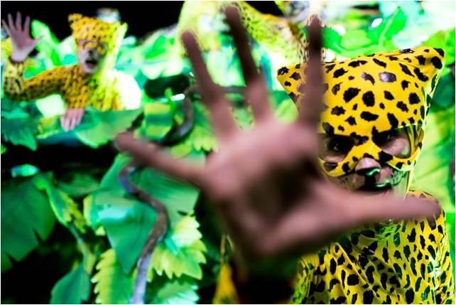 Bloco carnavalesco onde usam muitos adereços como folhas de bananeira e um folião vestido de onça pintada expõe sua mão como se fôsse uma garra.