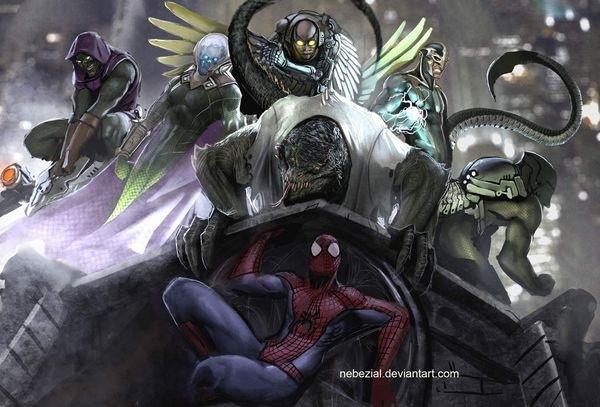seres estranhos, androgenos, com o homem aranha com sua máscara características. Todos mascarados.