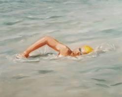 Schwimmer. Öl auf Malplatte, 30 x 20 cm, 2017